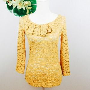 Anthropologie Postmark Lace Sessile yellow top